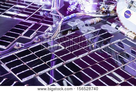 BRATISLAVA SLOVAKIA - NOVEMBER 9: Solar panels at rover Opportunity at exhibition Cosmos on November 9 2016 in Bratislava