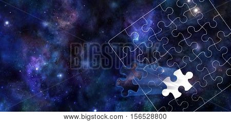 A Piece of the Puzzle of the Universe - Dark blue background of the Universe with stars and planets with a white jigsaw puzzle outline overlaid and one segment of the jigsaw shooting outwards