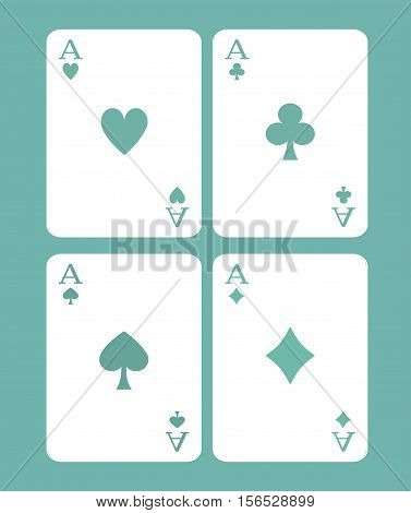 Four Cards Game -  Poker Cards - Poker Design Game Concept - Casino Games Vector Illustration Stock