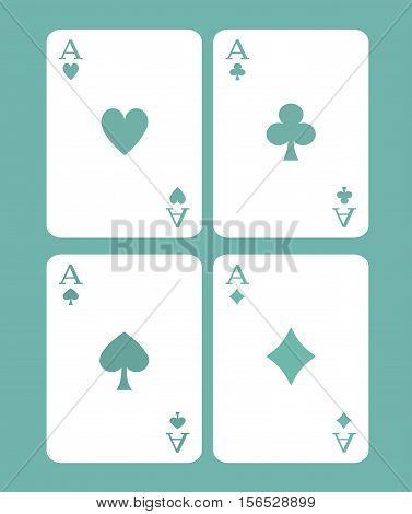 Four Cards Game -  Poker Cards - Poker Design Game Concept - Casino Games Vector Illustration Stock