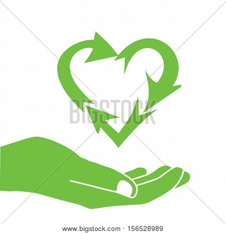 Hand Green Heart Recycle Icon Logo - Love Eco Recycling Icon Vector Background Isolated Flat Illustration Stock