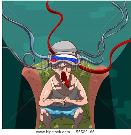 Colorful vector illustration of a man brainwashed by propaganda with a virtual reality device on his head watching social media