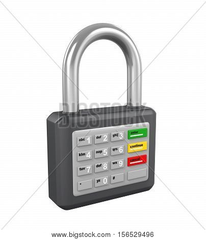 Padlock with ATM Keypad isolated on white background. 3D render