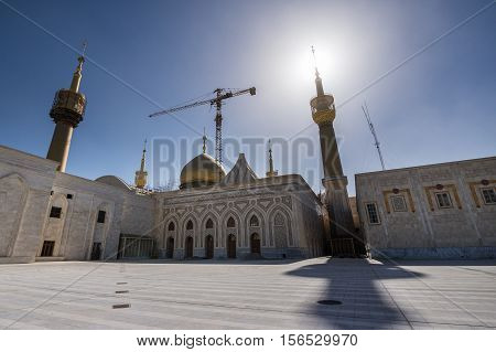Crane over Mausoleum of Ruhollah Khomeini in Tehran capital of Iran