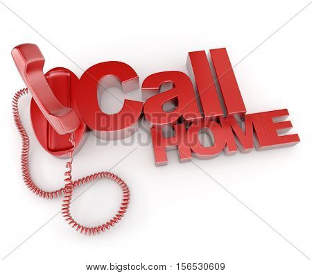 3D rendering of an unhooked telephone receiver with the words call home