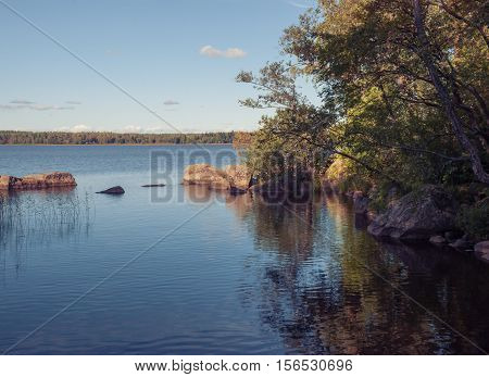 Nature background river Bay with hanging trees and stone boulders in the water