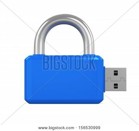 USB Flash Drive Padlock isolated on white background. 3D render