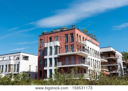 Some modern townhouses seen in Berlin, Germany