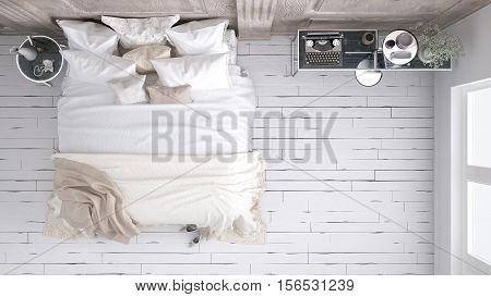 Classic white bedroom top view, 3d illustration