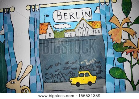 Berlin aug 23. 2016 - detail on Berlin colored wall