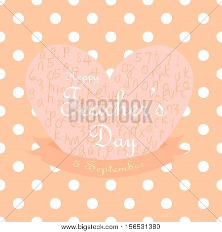 Greeting card for teacher's day in peach polkadot