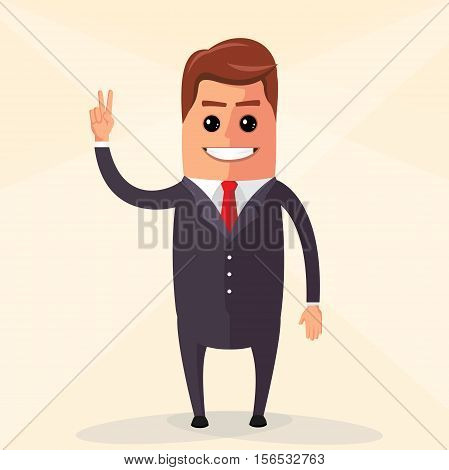 Business man waving and smiling. Manager character waving hand. Vector flat design illustration.