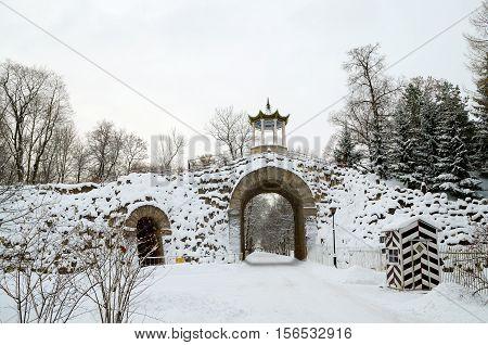 13.11.2016.Russia.Pushkin.Tsarskoe selo.Overhead crossing between the two parks.