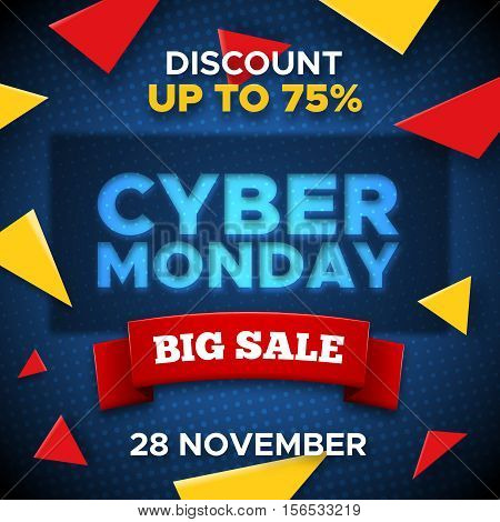 Cyber Monday Sale promo vector background. Retail promotion banner abstract geometric design with yellow triangles for discount offer or final clearance on holidays season.
