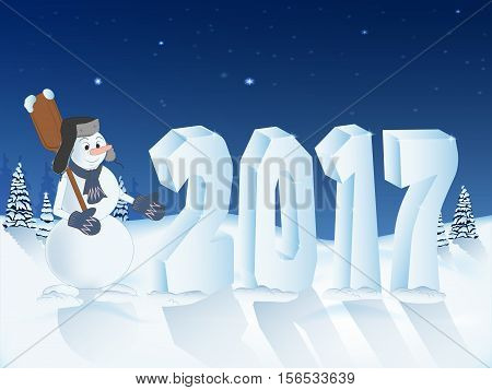 the number 2017 of snow. winter landscape. snowman with shovel. new year banner card poster