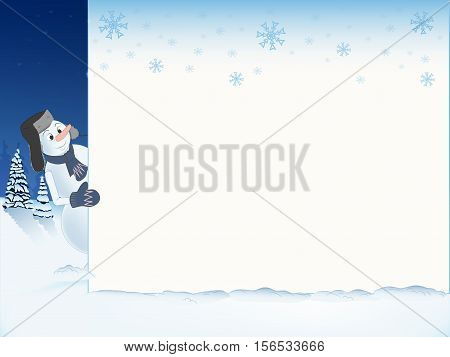 template for your text. snowman in the cap peeking out from behind a white sheet. the falling snowflakes. snowy landscape in the background. snowdrift