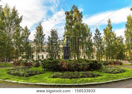 Monument of Swedish and Finnish poet Frans Michael Franzen in Franzen Park (Franzen puisto) in Oulu. Finland.