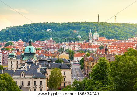 Panorama of the old part of Prague from the Prague Castle. Old Town architecture, Czech Republic.