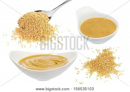 Mustard in bowl isolated on white background. Seeds of yellow mustard