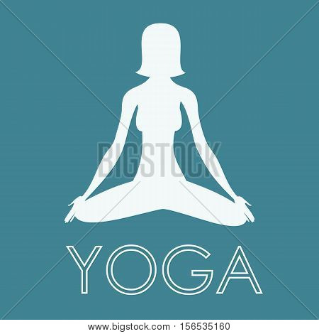Yoga Exercise - Woman Yoga Meditating - Yoga Position Vector Illustration Background Logo Stock