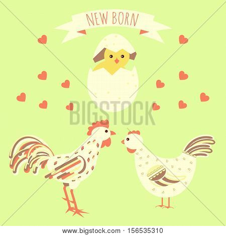Greeting Card With New Born Chicken