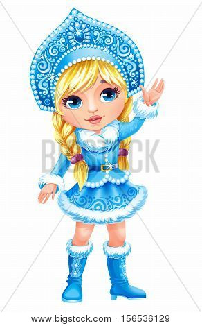 Beautiful girl wearing short blue coat with white fur. Snow Maiden (Snegurochka) traditional Russian Christmas character on white background