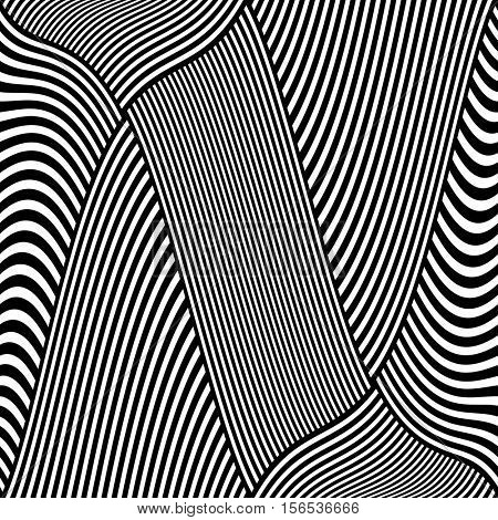 Striped lines abstract design. Vector art.