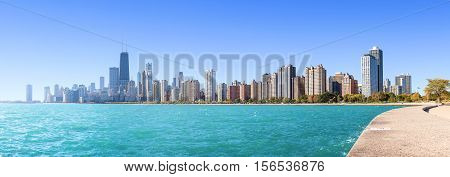 Chicago city skyline panoramic morning view over Lake Michigan USA.