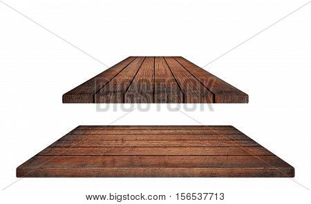 Empty brown wooden table top or horizontal and diagonal planks on white background.