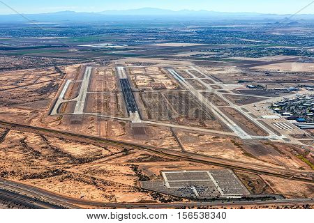Aerial view of the Phoenix-Mesa Gateway Airport in Mesa Arizona