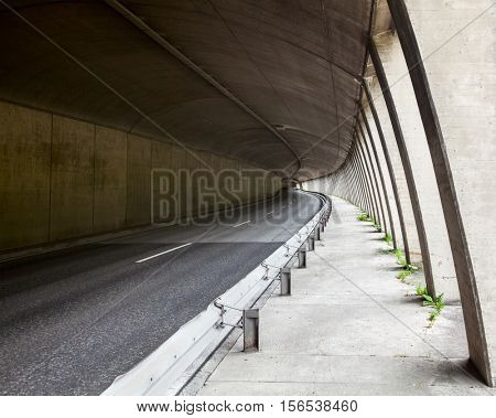 Empty two lane road tunnel
