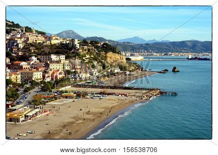 Salerno, Campania, Italy - November 12, 2016: Panorama of the City of Vietri sul Mare, in the background the Harbour fo Salerno and the rocks named