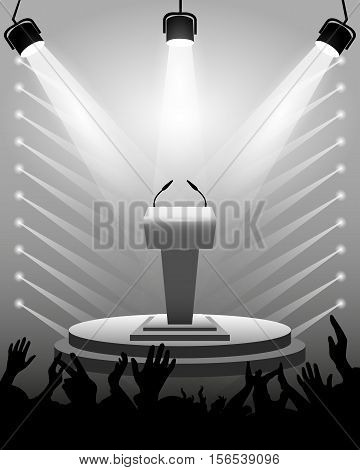 Tribune for performances speaker with microphones on stage spotlights cheering fans background as a template for design activities. Vector illustration.