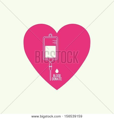 Abstract background with blood bag. Icon donation  with heart. Vector image help the sick and needy. dropper with drop. Logo