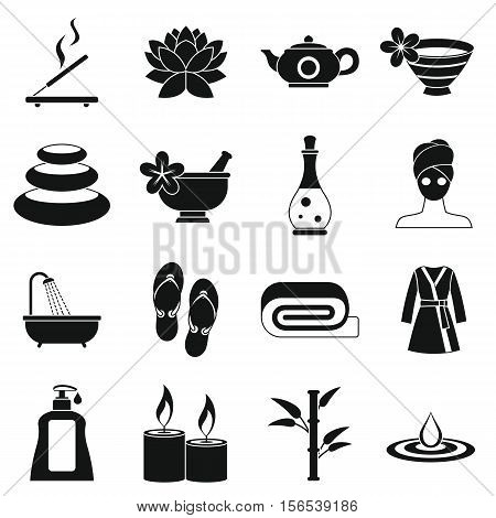 Spa treatments icons set. Simple illustration of 16 spa treatments vector icons for web