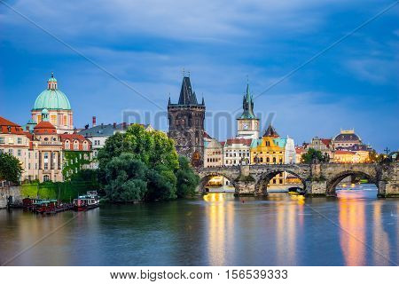 View of the River Vltava and Charles Bridge at Dusk Prague Czech Republic Europe