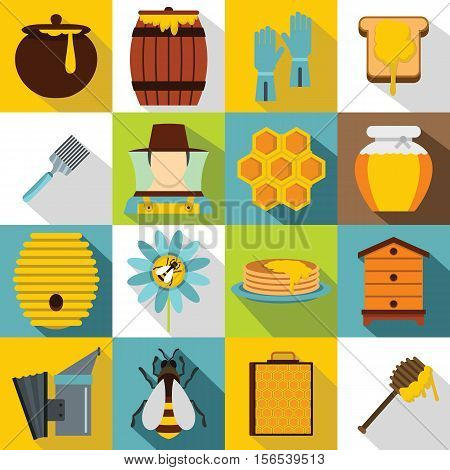 Apiary tools icons set. Flat illustration of 16 apiary tools vector icons for web