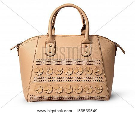 In front elegant women beige handbag isolated on white background poster