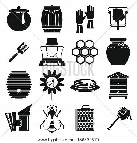 Apiary tools icons set. Simple illustration of 16 apiary tools vector icons for web