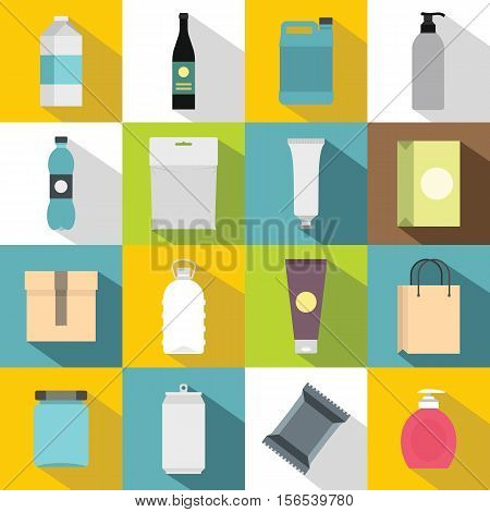 Packaging items icons set. Flat illustration of 16 packaging items vector icons for web