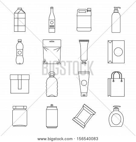 Packaging items icons set. Outline illustration of 16 packaging items vector icons for web