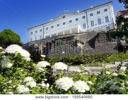Estonian government building (Stenbock House) on Toompea hill. Old city Tallinn Estonia.