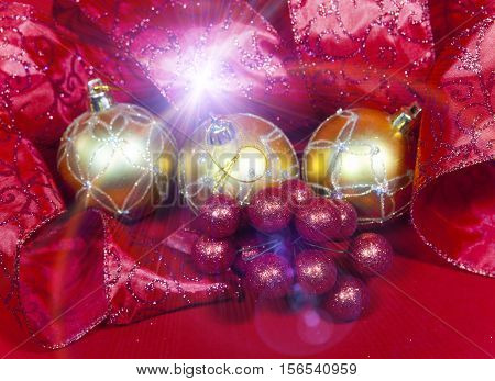 New Year's composition on a red background - ball and ribbon