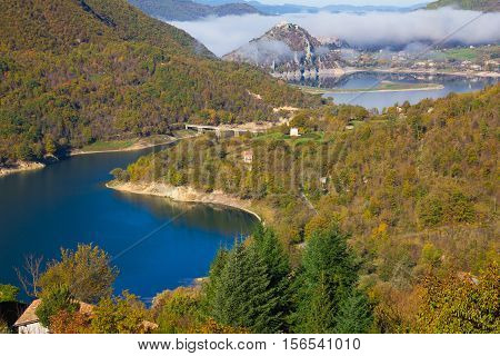 Beautiful view of Turano lake in Lazio with fog