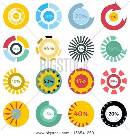 Colorful download status icons set. Cartoon illustration of 16 colorful download status vector icons for web