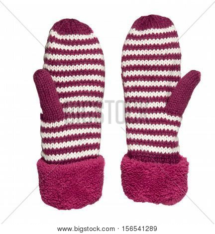 Mittens Isolated On White Background. Knitted Mittens. Mittens Top View.red Mittens With White Strip