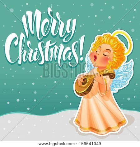 Vector Illustration. Cute Christmas Angel in a long light dress. He sings a song and playing lute. Beautiful Christmas Greeting Card.