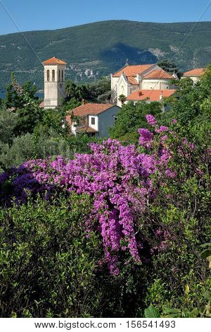 church St. Jerome in Herceg Novi surrounded by greenery, Montenegro