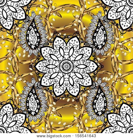 Exquisite mandala pattern design in yellow and white on golden round background. Decorative elements. Raster.