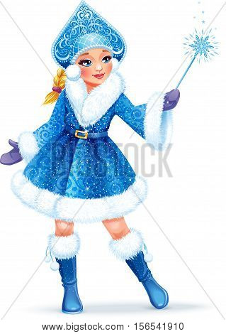 Vector illustration. Beautiful girl wearing short blue coat with white fur. Snow Maiden (Snegurochka) traditional Russian Christmas character on white background.